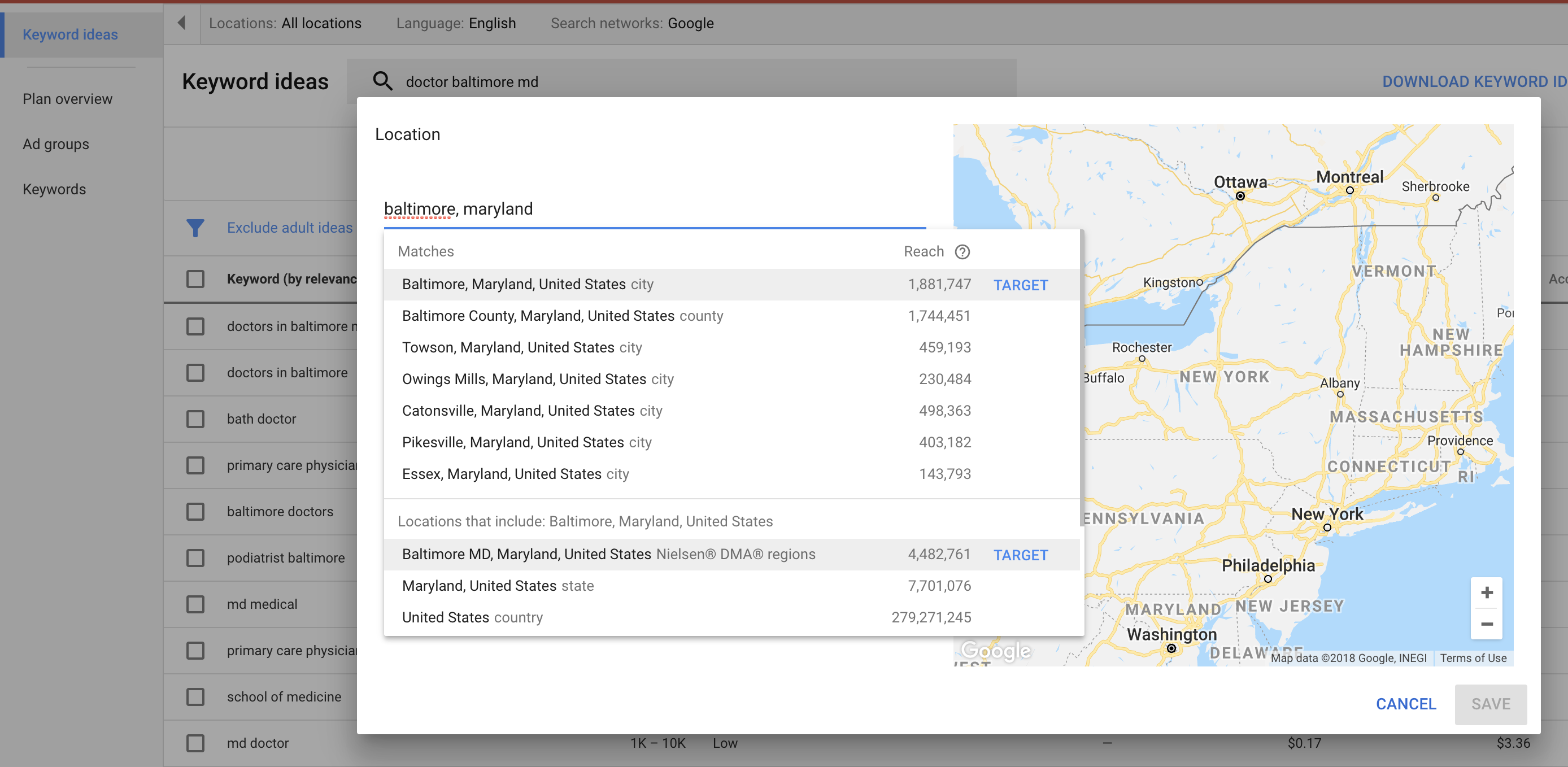 inputting location in google keyword planner for local keyword research